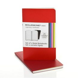 Moleskine Volant Extra Small Ruled Notebook, Scarlet/Bordeaux Red Set of 2