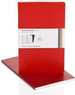 Moleskine Volant Large Ruled Notebook, Scarlet/Bordeaux Red Set of 2