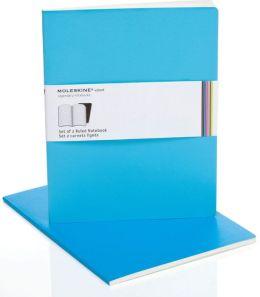 Moleskine Volant Extra Large Ruled Notebook, Manganese/Cerulean Blue Set of 2