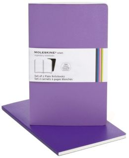 Moleskine Volant Large Plain Notebook, Violet Set of 2