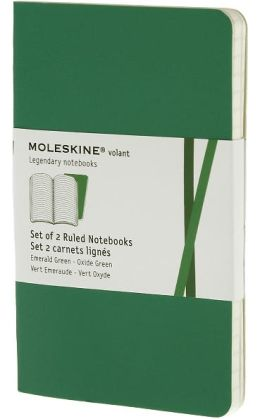 Moleskine Volant Extra Small Ruled Notebook, Emerald/Oxide Green Set of 2