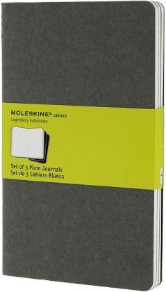 Moleskine Cahier Journal (Set of 3), Large, Plain, Pebble Grey, Soft Cover (5 x 8.25)