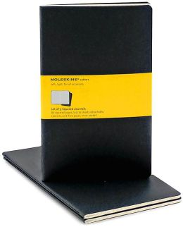 Moleskine Cahier Black Large Squared Journal, Set of 3