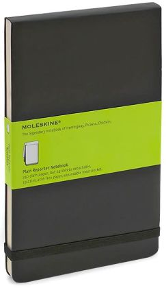 Moleskine Reporter Notebook, Large, Plain, Black, Hard Cover (5.25 x 8.25)