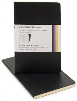 Moleskine Volant Pocket Ruled Notebook, Black Set of 2