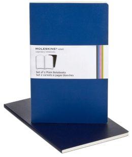 Moleskine Volant Large Plain Notebook, Antwerp/Prussian Blue Set of 2