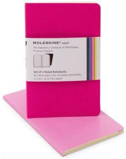 Moleskine Volant Pocket Ruled Notebook, Pink/Magenta Set of 2