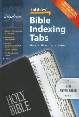 Bible Indexing Tabs: Clear Tab W/Silver Center Strip & Black Lettering