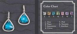 Beverly Clark 56-2252/AQU Silver Aquamarine Stone Earrings With Rhinestone Edge