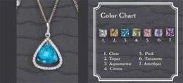Beverly Clark 56-2253/CIT Silver Citrine Stone Earrings With Rhinestone Edge Large Drop Pendant