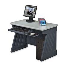 Iceberg Enterprises ICE72002 Computer Desk- 42in.x24-.50in.x30in.- Charcoal Gray Base-Silver Top